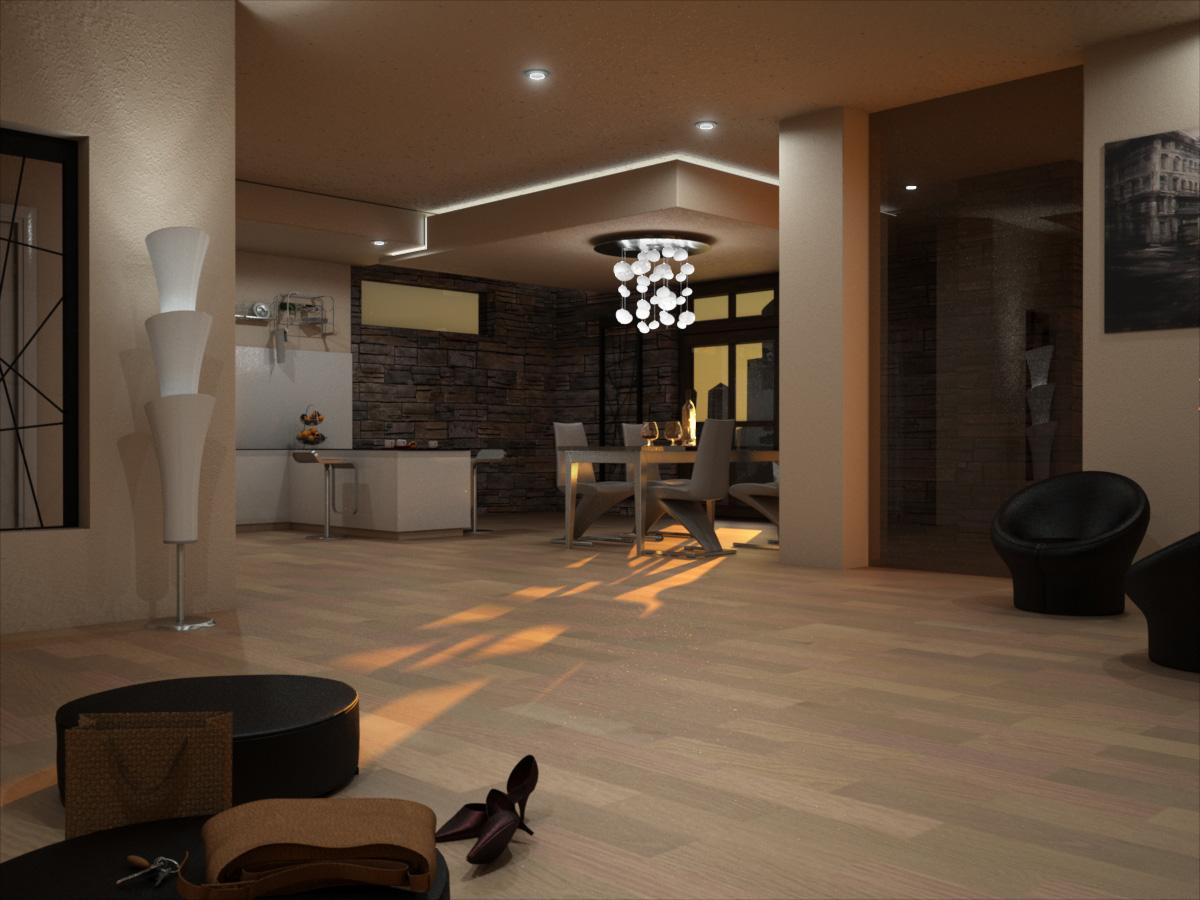 Interno appartamento residenziale moderno realistic art for Appartamenti moderni immagini